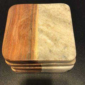 Gray marble and wood coaster set of 4